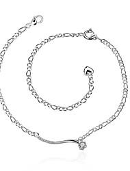 Bracelet de cheville/Bracelet Alliage Zircon Plaqué argent Imitation de diamant Naturel Amitié Mode Vintage Bohême Style Punk Hip-Hop Turc