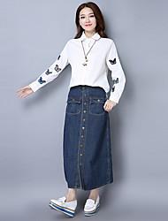 знак в начале весны 2017 года новый случайные денима юбка костюм вышитых рубашек бабочки кусок