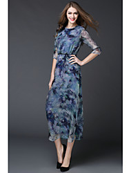 MMLJ Going out Formal Sexy Cute A Line DressFloral Round Neck Midi  Sleeve Others Purple Spring Summer Mid Rise Micro-elastic