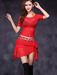 Belly Dance Dresses Women's Performance Lace Lace 2 Pieces Short Sleeve Natural Top / Skirt