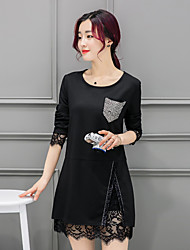 unterzeichnen neue Frühjahr 2017 Frauen&# 39; s langärmeligen Kleid Code plus Mast Fett Schwester dünner Rock 200 Pfund