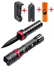 UKing  ZQ-X1010#1-EU CREE XPE 1500LM 3Modes Zoomable Flashlight Knife Self Defense DC Charge Torch Kit Attack Hammer Function