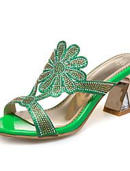 Women's Slippers & Flip-Flops Synthetic Dress Casual Chunky Heel Rhinestone Gold Green Blue