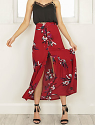 Swing Trumpet/Mermaid Floral Skirts,Going out Casual/Daily Holiday Vintage Simple Street chic High Rise Midi Elasticity Polyester Stretchy