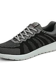 Masculino-Tênis-Solados com Luzes par sapatosPreto Azul-Couro Ecológico-Casual