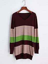 Normal Pullover Femme Décontracté / Quotidien simple,Rayé Rouge Col Roulé Manches Longues Polyester Automne Moyen Micro-élastique