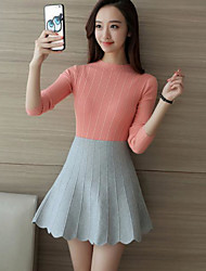 Model real shot 2017 spring Korean version of the small solid round neck long-sleeved knit shirt bottoming high elasticity