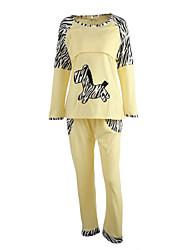 mode zèbre confortable pyjama broderie d'allaitement Vêtements de maternité ensemble