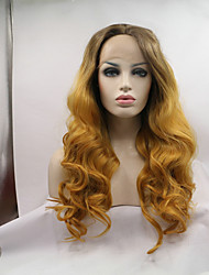 Sylvia Synthetic Lace Front Wig Dark Brown Roots Strawberry Blonde Hair Natural Wave Heat Resistant Synthetic Wigs