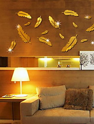 16 Pieces Feather Shape Mirror Wall Stickers Acrylic Plexiglass Material Home Decoration