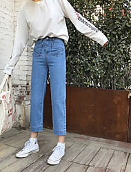 Sign in spring 2017 Korea Institute of pocket wide leg was thin legs straight jeans female