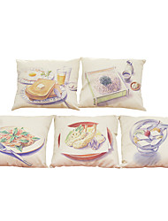 Set of 5 Color pencil drawing pattern   Linen Pillowcase Sofa Home Decor Cushion Cover (18*18inch)