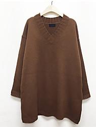 maré feminino camisa solta selvagem vestido fino de cor sólida v-neck camisola 2017 modelos primavera chique
