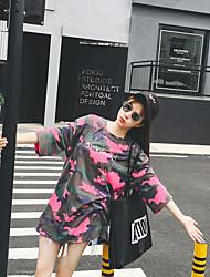 coreano selvagem bf vento grandes estaleiros longa seção em torno do pescoço de manga curta mulheres t-shirt da camuflagem