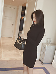 Solid color sweater Korea repair height collar long-sleeved knit dress and long sections bottoming shirt female