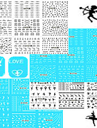 1set 48pcs Nail Art Sticker Black White Beautiful&Lovely Image Dance Girl Water Transfer Decals Nail Art Beauty Design B121-144