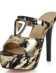 Damen-Sandalen-Kleid Lässig Party & Festivität-Samt maßgeschneiderte Werkstoffe-Stöckelabsatz-Neuheit Club-Schuhe-Schwarz Gold