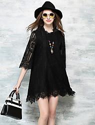 Feminino Rendas Vestido, Para Noite Férias Simples Moda de Rua Sólido Colarinho Chinês Acima do Joelho Manga ¾ Branco Preto Algodão
