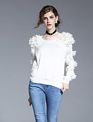 Mujer Simple Noche Primavera Verano Camisa,Escote Redondo Un Color Manga Larga Poliéster Blanco