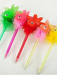Fashion Three-dimensional Plastic/Hair Ball Cartoon Goldfish Pandent Craft BallPoint Pen