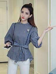 unterzeichnen Frühjahr 2017 Frauen&# 39; s neue koreanische Rock mit gestreiftem Hemd slim Laterne Hülsenhemd Hemd grundiert Gezeiten