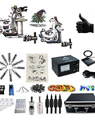 Kit de tatouage complet 2 x Machine à tatouer en acier pour le traçage et l'ombrage 2 Machines de tatouageSource d'alimentation