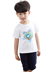 Unisex Going out Casual/Daily Sports Print Sets Cotton Summer Short Sleeve Pants 2 Piece Clothing Set Boy Girl Children's Garments