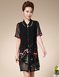 Sign summer mother dress big yards outside the ride cardigan embroidered two-piece short-sleeved dress suit female
