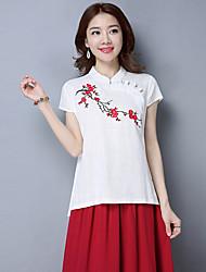 2017 новые оригинальные женщины в китайском стиле&# 39, S кнопки пластины хлопка с короткими рукавами рубашки вышитые этническом стиле