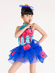 Children's Jazz Dance Dress Performance Polyester Splicing Halter 2 Pieces Sleeveless Dress Headpieces Blue Green Kid's Ballet Dancewear