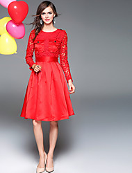 BLUEOXY Women's Lace Going out Holiday Simple Boho A Line Loose Dress,Solid Round Neck Knee-length Long Sleeve Cotton Polyester Red Black GreenSpring