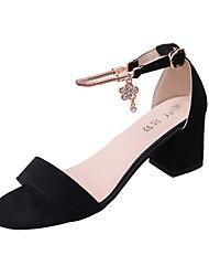 Damen-High Heels-Outddor-PU-Blockabsatz-Komfort-Schwarz Grau