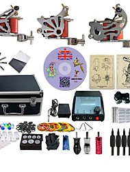 Complete Tattoo Kit 3  G3A3A14A11 Machines Liner & Shader Dual LED Power Supply