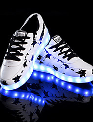 LED Light Up Shoes/Unisex Sneakers/Luminous/Comfort/Casual Flat Heel Lace-up/ White Walking