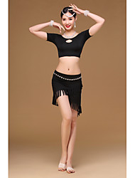 Belly Dance Outfits Women's dancewear Training Modal Tassel(s) 2 Pieces Short Sleeve Dropped Top Skirt