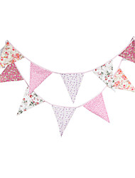 3.6m 12Flags Pink Flower Banner Pennant  Cotton Bunting Banner Booth Props Photobooth Birthday Wedding Party Decoration