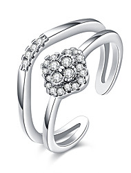 Fashion Rings Zirconia Micro Paved Plated Silver Two-line Four Leaf Clover Stainless Steel Rings for Women Holiday Gifts Jewelry