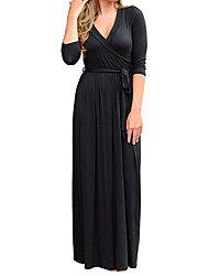 Women's Casual/Daily Formal Club Simple Sheath Dress,Solid V Neck Maxi ¾ Sleeve Polyester All Seasons Low Rise Micro-elastic Medium