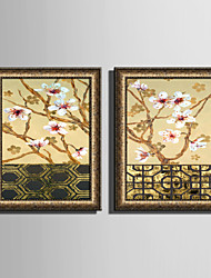 E-HOME® Framed Canvas Art Plum Blossom On The Wall Framed Canvas Print One Pcs