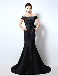 Formal Evening Dress Trumpet / Mermaid Off-the-shoulder Sweep / Brush Train Taffeta with Cascading Ruffles