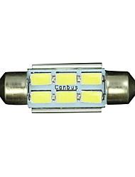 10x Festoon 36mm 6 5730 WHITE Car Interior LED No-polar 12V Dome Map Light Bulb