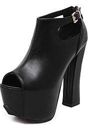 High Heels-Kleid-PU-Blockabsatz-Club-Schuhe-Schwarz