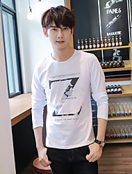 Men's casual round neck long-sleeved T-shirt printing new winter trend of men's cotton t-shirt