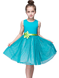 A-line Knee-length Flower Girl Dress - Organza Sleeveless Jewel with Bow(s) Flower(s) Sash / Ribbon