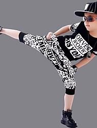 Boy's Cotton Fashion Pure Cotton Round The Letter Printing Lettering Printing Short Sleeve Harlan Shorts Street Dance Eng Two-Piece Outfit