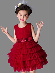 Ball Gown Short / Mini Flower Girl Dress - Cotton Satin Tulle Sleeveless Jewel with Bow(s) Sequins