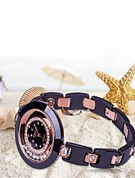 Relógio de Moda Quartzo Cerâmica Banda Casual Preta Branco Branco Preto Ouro Rose Ouro / Branco