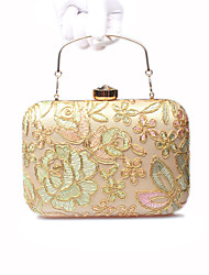Women Bags All Seasons Polyester Silk Evening Bag with Lace Flower for Wedding Event/Party Formal Gold