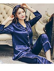 Sign spring new silk pajamas suit silk ice silk upscale minimalist tracksuit pajamas female models