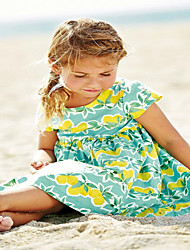 Girl's Cotton Fashion Exclusive New Lovely Fruit With Lemon Print  With Short Sleeves Dress